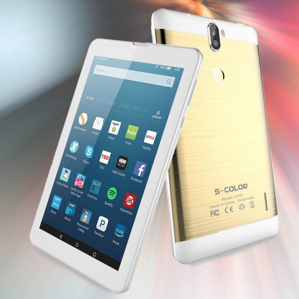 S COLOR U707 Tablet 7 inch, 4G , 2GB RAM 16GB, Wi-Fi, Dual Core,Dual Camera, Dual Sim,Android 7.0 Gold
