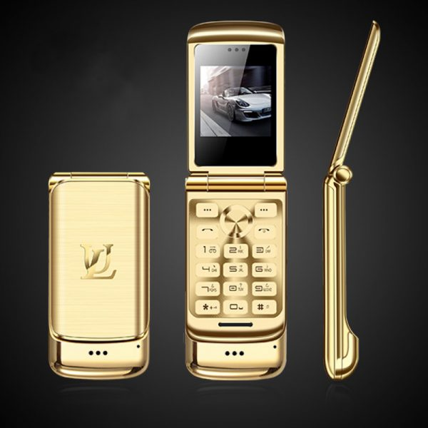 Ulcool V9 Luxury Phone Super Mini Flip Cell Phone,Anti-Lost Mobile Phone With 1.54inch FM MP3 Bluetooth Dialer , Gold